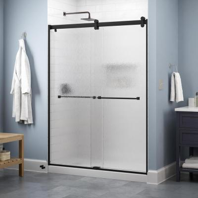 Lyndall 60 in. x 71 in. Contemporary Sliding Frameless Shower Door in Matte Black with Rain Glass