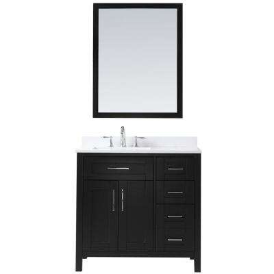 OVE Tahoe 36 in. W x 21 in. D Vanity in Espresso with Quartz Vanity Top in White with White Basin and Mirror