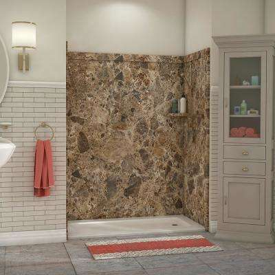 Royale 36 in. x 60 in. x 80 in. 11-Piece Easy Up Adhesive Alcove Bathtub/Shower Wall Surround in Breccia Paradiso