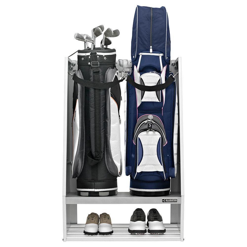 Premier Series Welded Steel 2-Bag Golf Caddy Garage Wall Storage in Hammered White