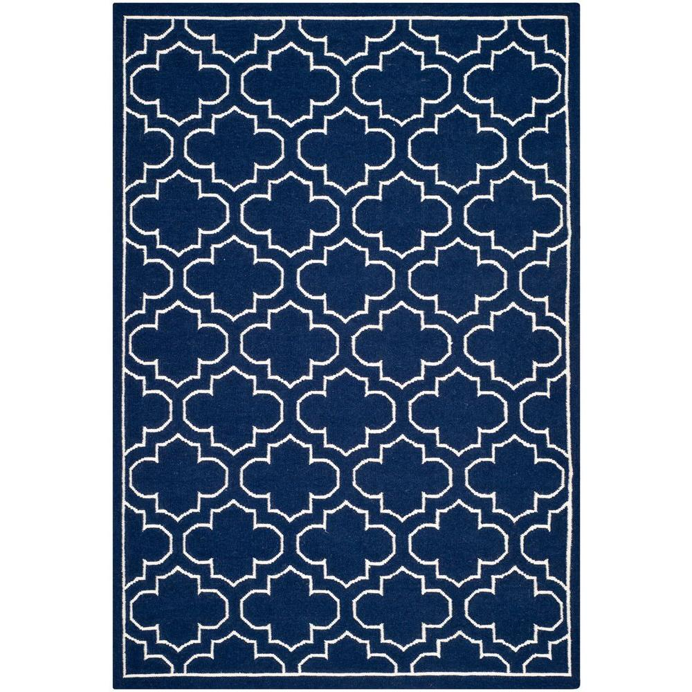 Safavieh Dhurries Navy/Ivory 6 ft. x 9 ft. Area Rug