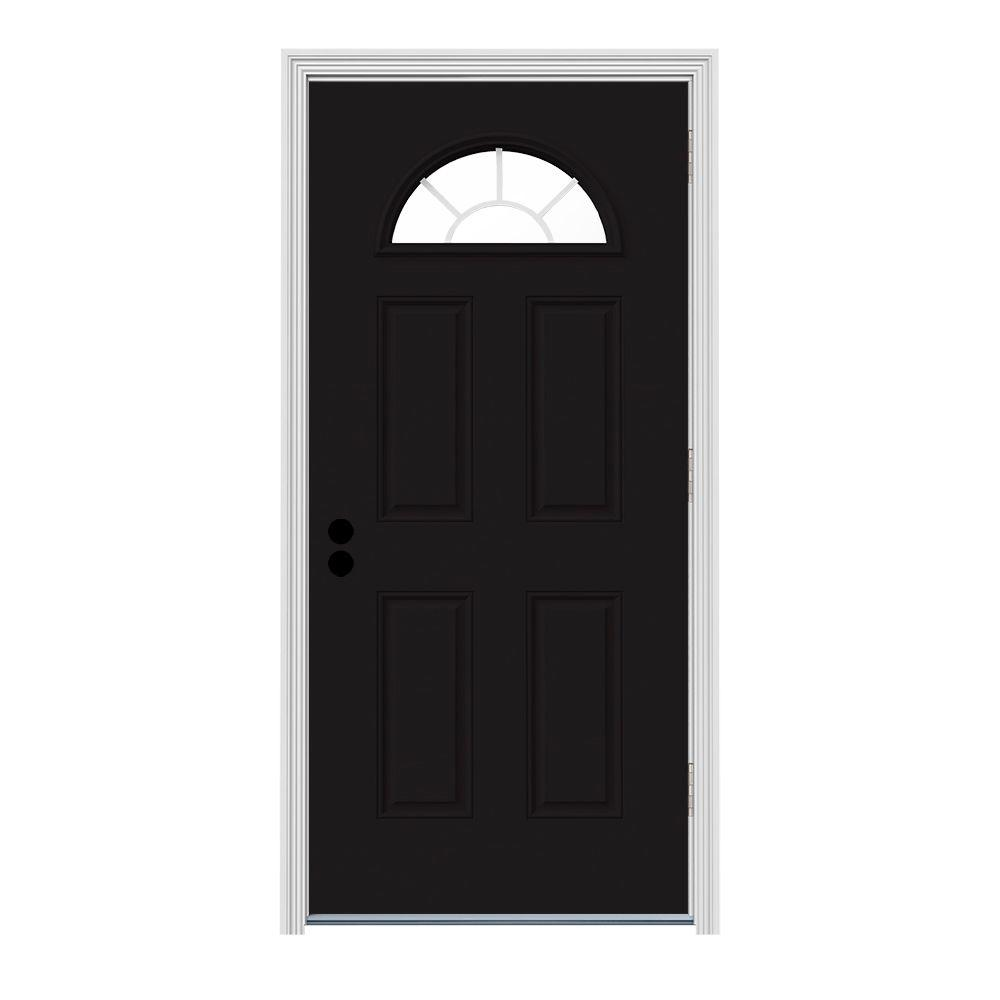 Jeld wen 36 in x 80 in fan lite black painted steel prehung left hand outswing front door w 36 x 80 outswing exterior door