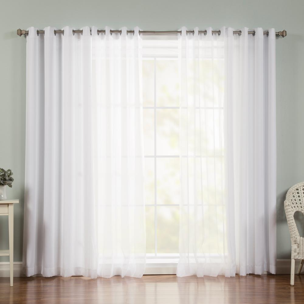 Best Home Fashion 96 in. L uMIXm Voile Sheer Nordic Curtain Panels in White (4-Pack)