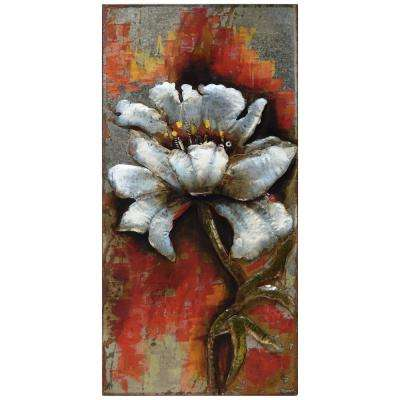 "48 in. x 24 in. ""Garden Rose 1"" Mixed Media Iron Hand Painted Dimensional Wall Art"