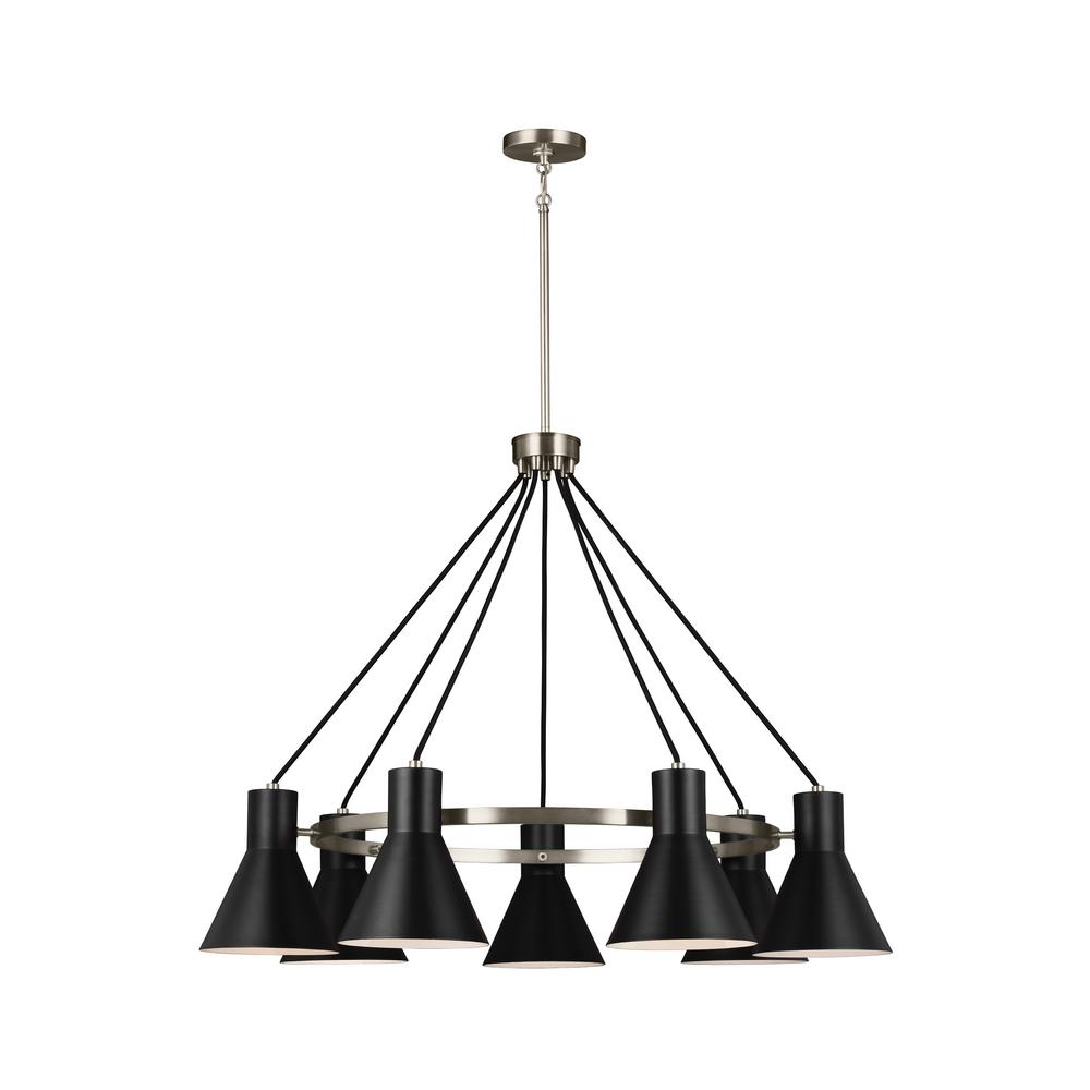 Sea Gull Lighting Towner 7 Light Black Shade With Brushed Nickel Accents Chandelier