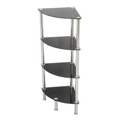 11.8 in. W x 11.8 in. D Black Glass and Chrome Corner 4-Tier Shelving Unit