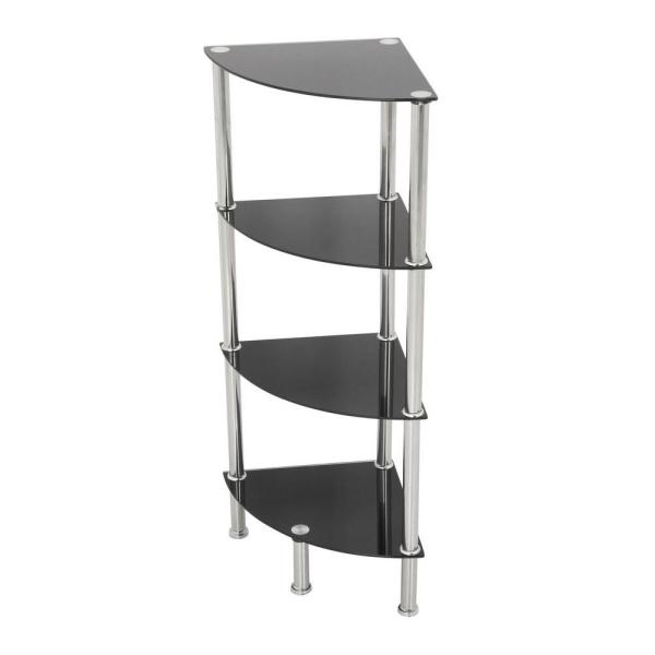 AVF 11.8 in. W x 11.8 in. D Black Glass and Chrome Corner 4-Tier Shelving Unit