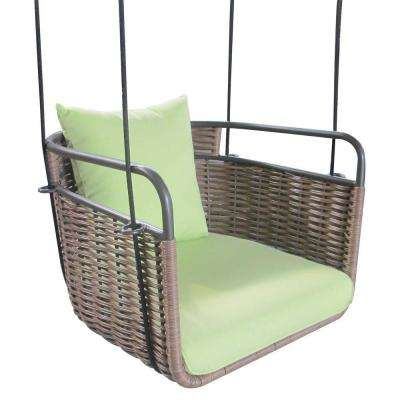 20 in. 1-Person Brown Wicker Porch Swing with Green Cushion