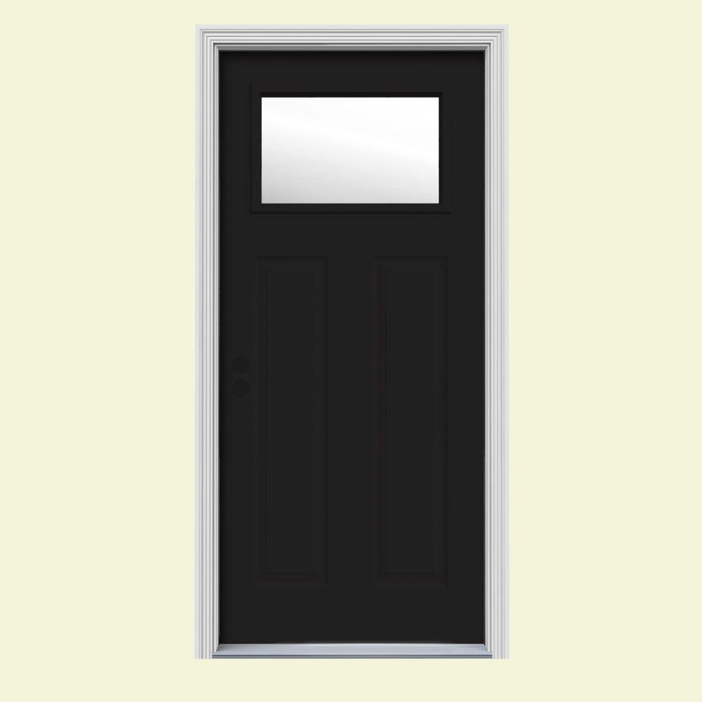 34 in. x 80 in. 1 Lite Craftsman Black Painted Steel