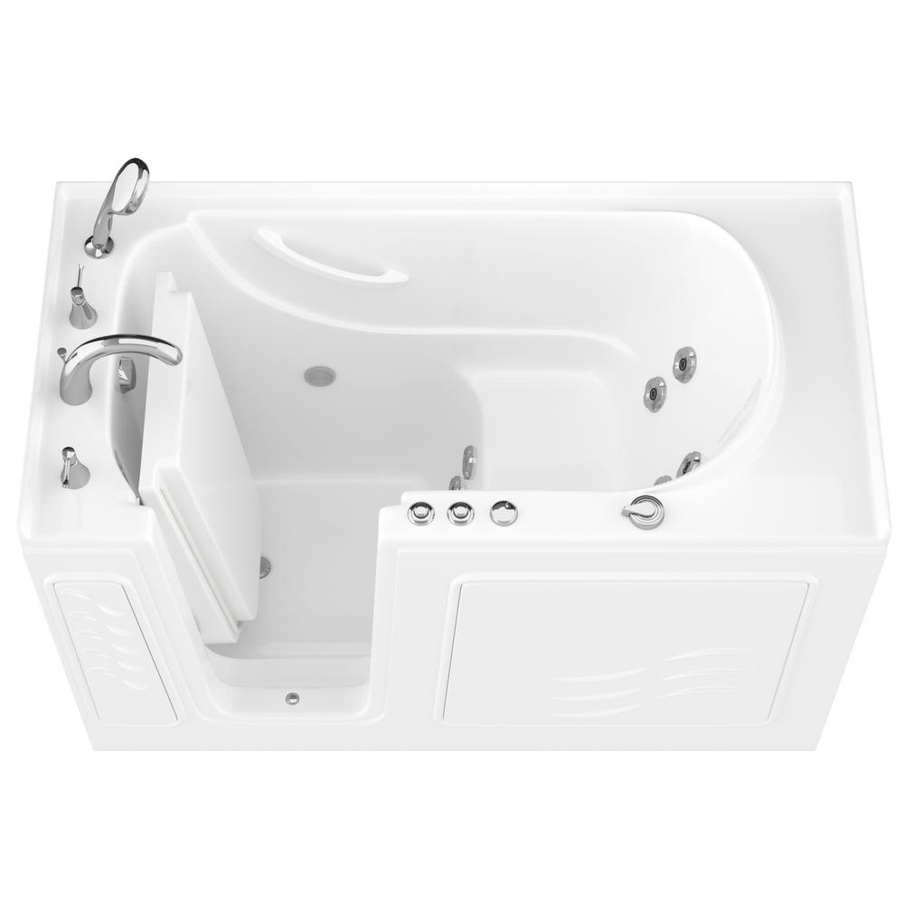 Universal Tubs Hd Series 60 In Left Drain Quick Fill Walk In Whirlpool Bath Tub With Powered Fast Drain In White Hd3060wilwh The Home Depot