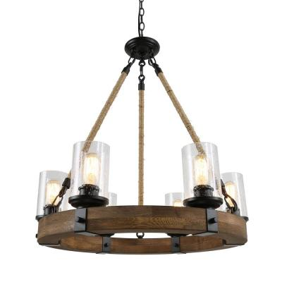 Eliora 6-Light Black Rope Wood Chandelier with Seedy Glass