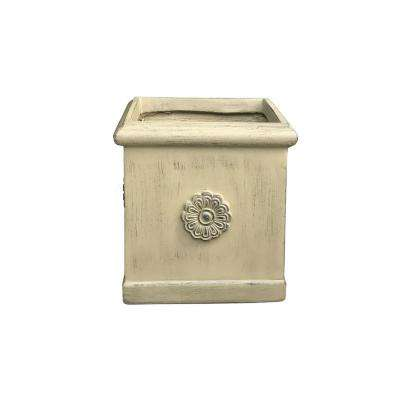 8.3 in. x 8.3 in. x 9.1 in. Brownstone Color Lightweight Concrete Chrysantemum Square Small Planter