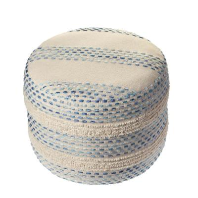 Looped Blue / Cream Tufted Pin Dot Round Pouf