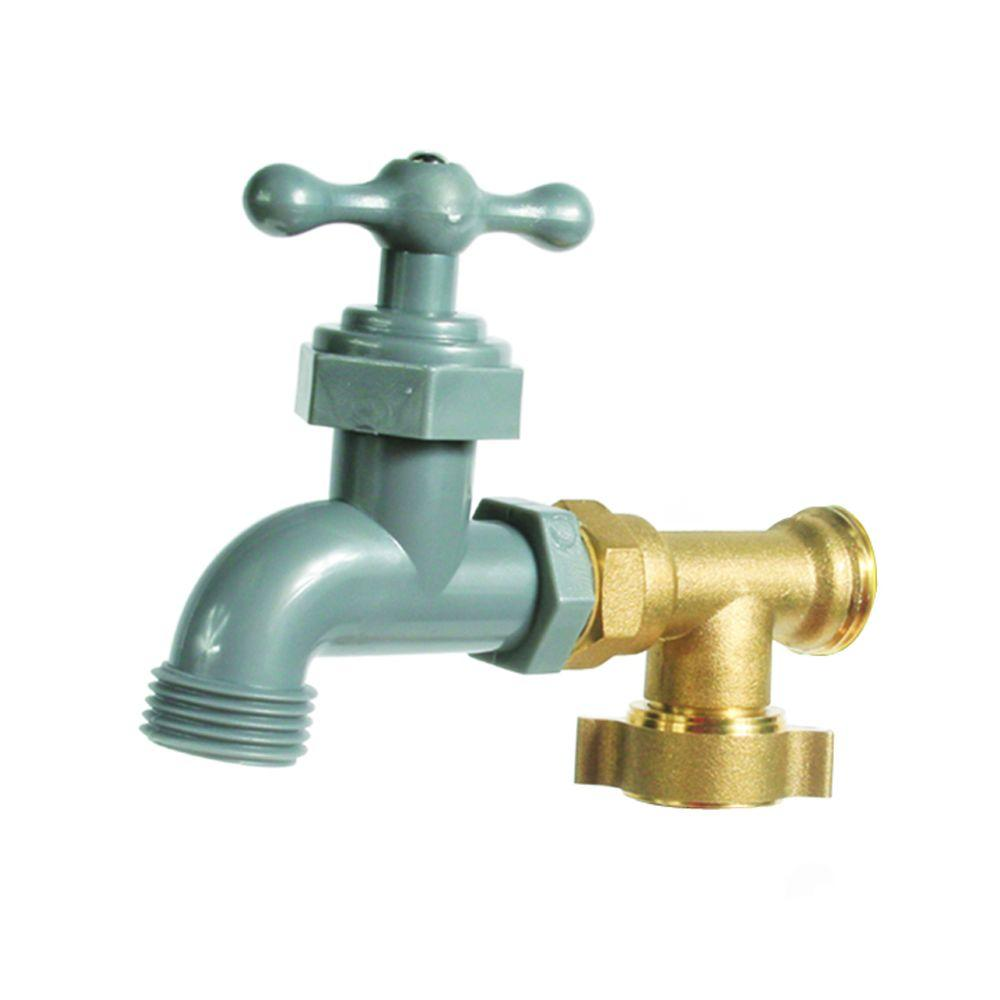 Camco 1 in. Plastic and Brass 90-Degree Water Faucet-22463 - The ...