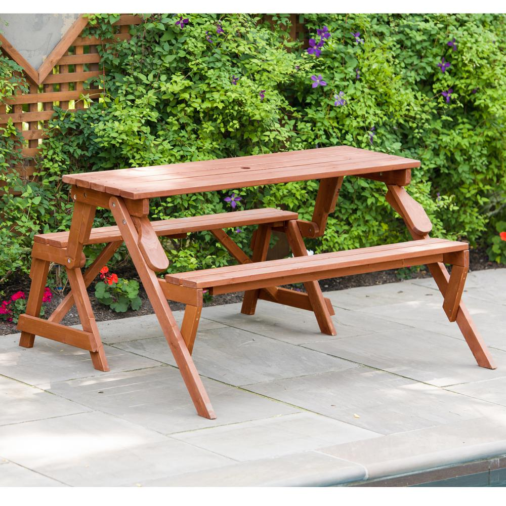 Surprising Leisure Season 55 In X 58 In X 30 In Cedar Folding Picnic Patio Table And Bench Andrewgaddart Wooden Chair Designs For Living Room Andrewgaddartcom