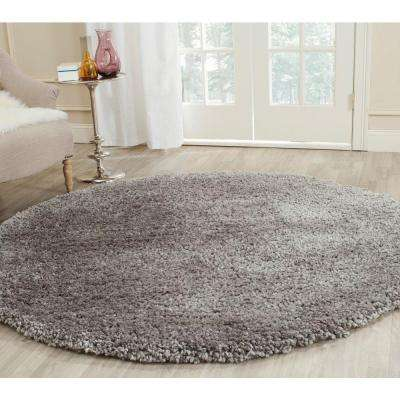 Popcorn Shag Silver 6 ft. x 6 ft. Round Area Rug