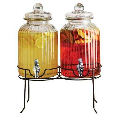 Double Ridge 1.3 Gal. Each Clear Glass Double Beverage Dispenser on Black Metal Stand