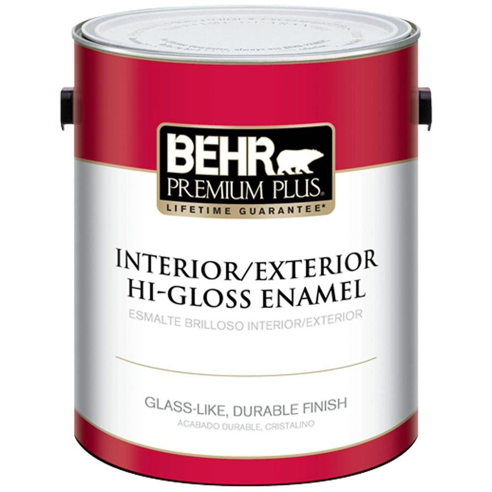 Behr Premium Plus 1 Gal Pure Black Hi Gloss Enamel Exterior Interior Paint And Primer In One 862001 The Home Depot