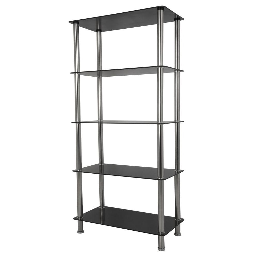 Avf Tall 5 Tier Shelving Unit In Black Gl And Chrome
