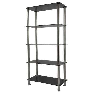 Tall 5-Tier Shelving Unit in Black Glass and Chrome