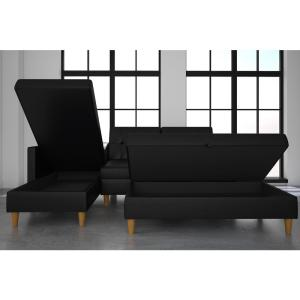 Miraculous Dhp Hartford Black Faux Leather Storage Sectional Futon And Lamtechconsult Wood Chair Design Ideas Lamtechconsultcom