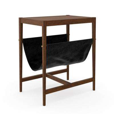 Nelly Dark Brown Oak and Black Mid-Century Rustic with Vegan Leather Magazine Holder Sling End or Side Table