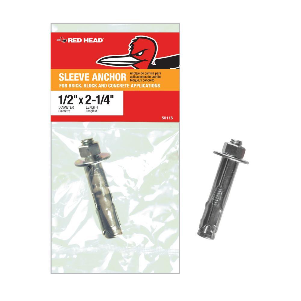 1/2 in. x 2-1/4 in. Zinc-Plated Steel Hex-Nut-Head Indoor Sleeve Anchor