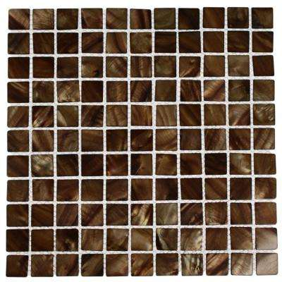 Mother of Pearl Tiger Eye 12 in. x 12 in. x 2 mm Pearl Glass Mosaic Tile