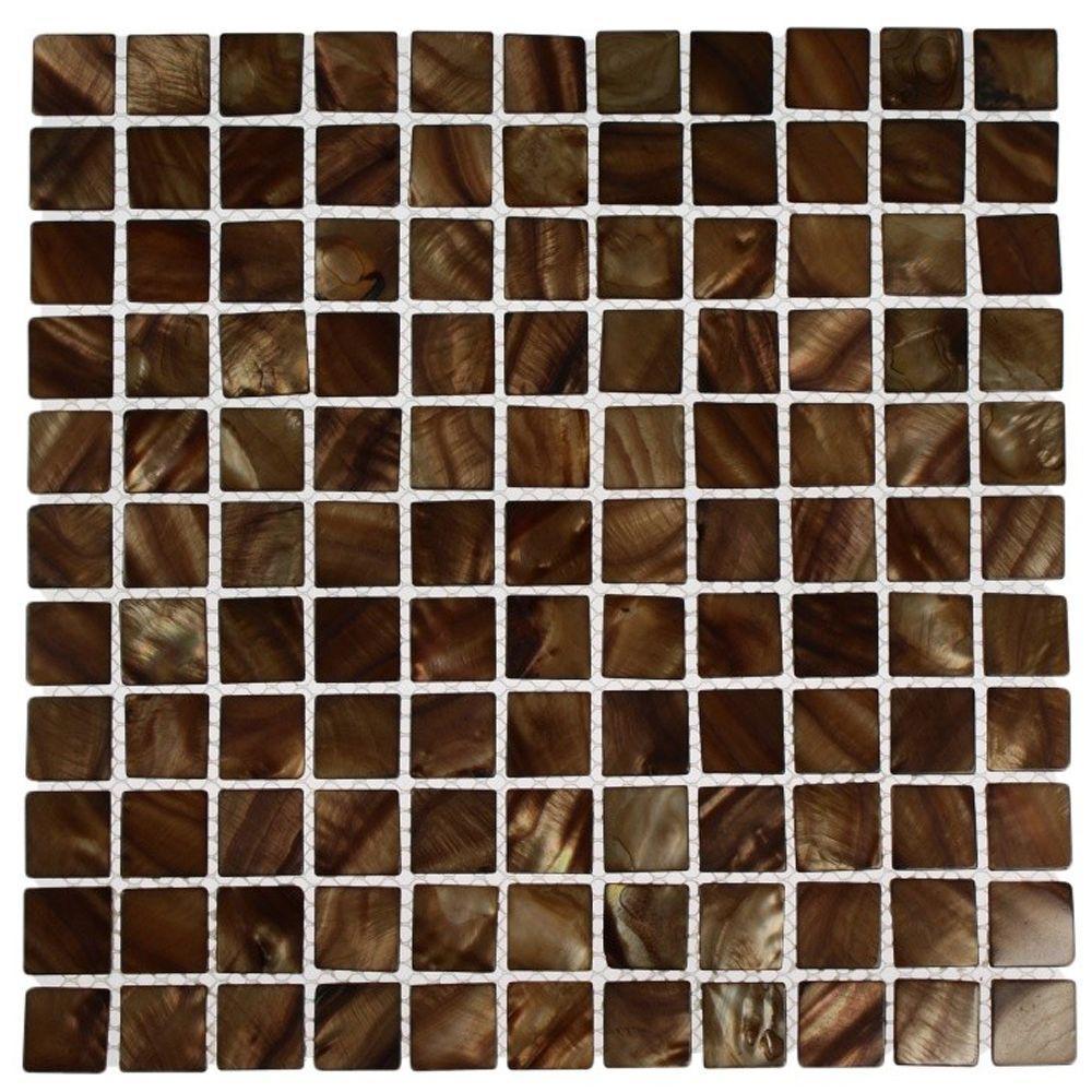 Splashback Tile Mother of Pearl Tiger Eye 12 in. x 12 in....