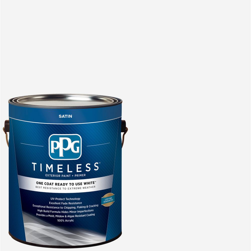 Ppg timeless 1 gal white satin exterior ready to use one - Best one coat coverage interior paint ...