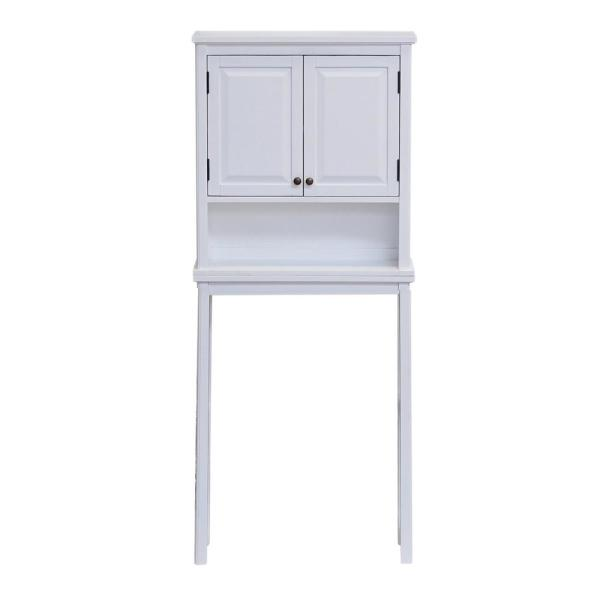 Dorset 27 in. W x 9 in. D x 66 in. H Over the Toilet Space Saver Storage with Upper Cabinet and Open Shelf in White