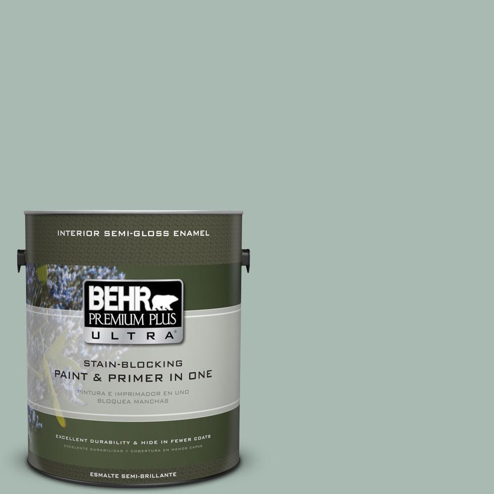 BEHR Premium Plus Ultra 1-gal. #BXC-85 Quiet Teal Semi-Gloss Enamel Interior Paint