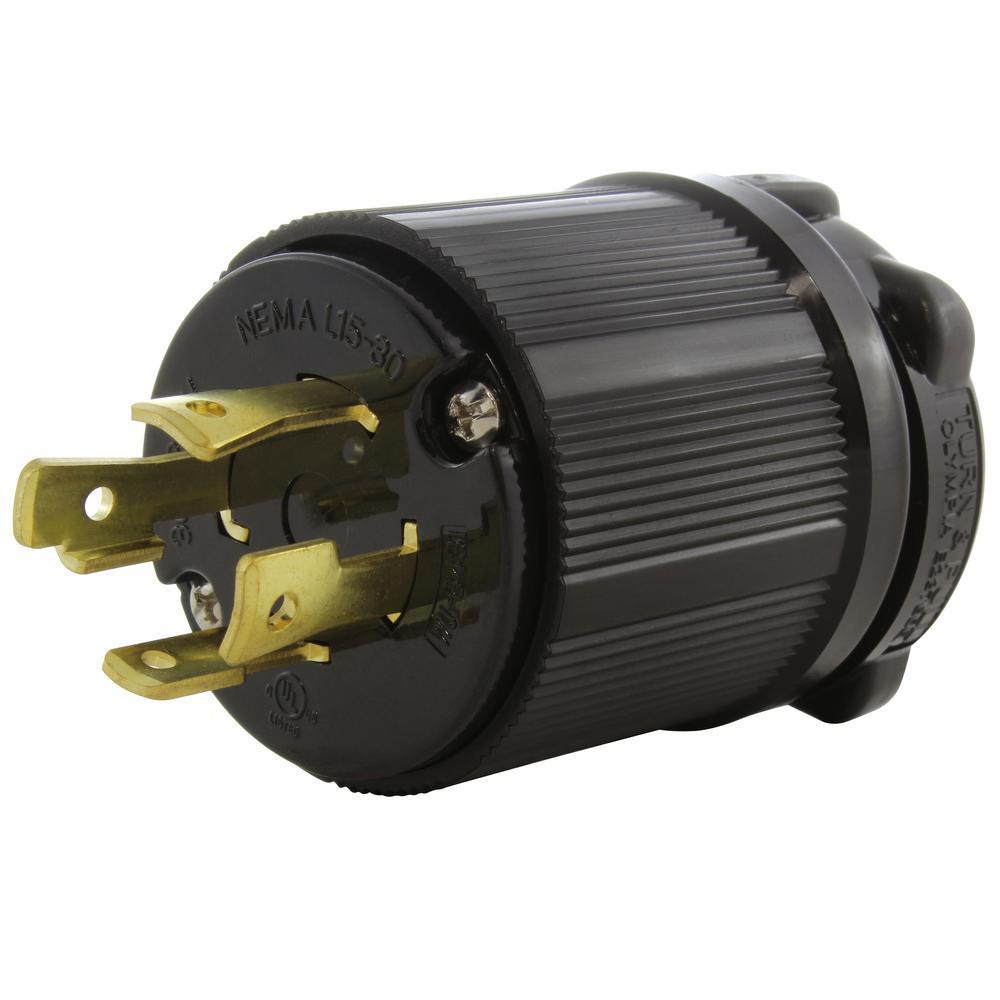 NEMA L15-30P 3-Phase 30 Amp 250V 4-Prong Locking Male Plug with UL, C-UL Approval