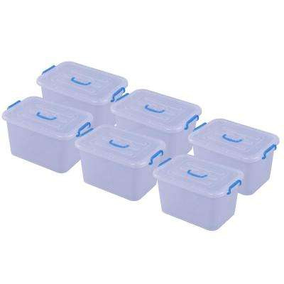 5.36 Gal. Large Clear Storage Container With Lid and Handles, Set of 6
