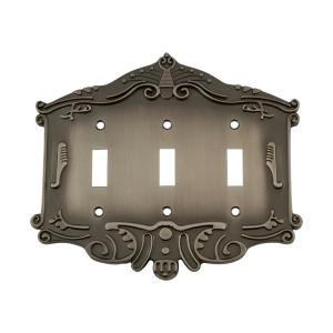 Nostalgic Warehouse Victorian Switch Plate with Triple Toggle in Antique Pewter by Nostalgic Warehouse