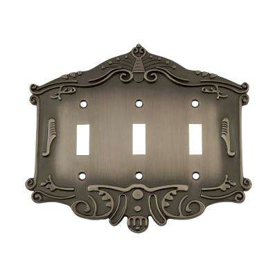 Victorian Switch Plate with Triple Toggle in Antique Pewter
