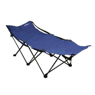 24 in. H x 69 in. L Portable Folding Camping Blue Cot