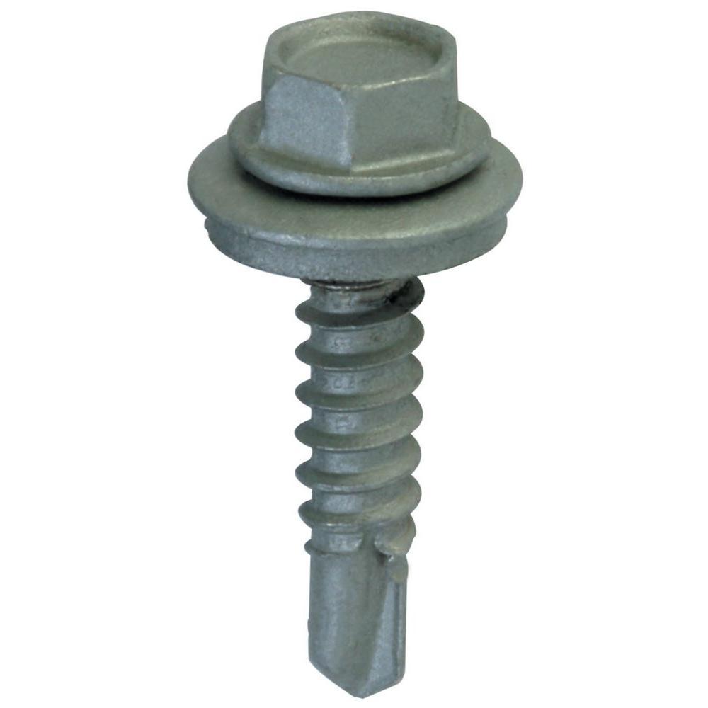 #9 X 1-1//2 Hex Washer Head Neoprene Washer Sheet Metal Screw Galvanized Sharp Point Bulk Box 2500