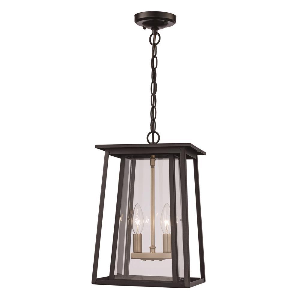 Medium 2-Light Black Outdoor Pendant Light