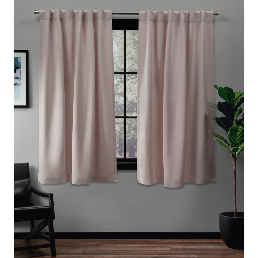 Sateen Blush Woven Blackout Hidden Tab Top Curtain - 52 in. W x 63 in. L