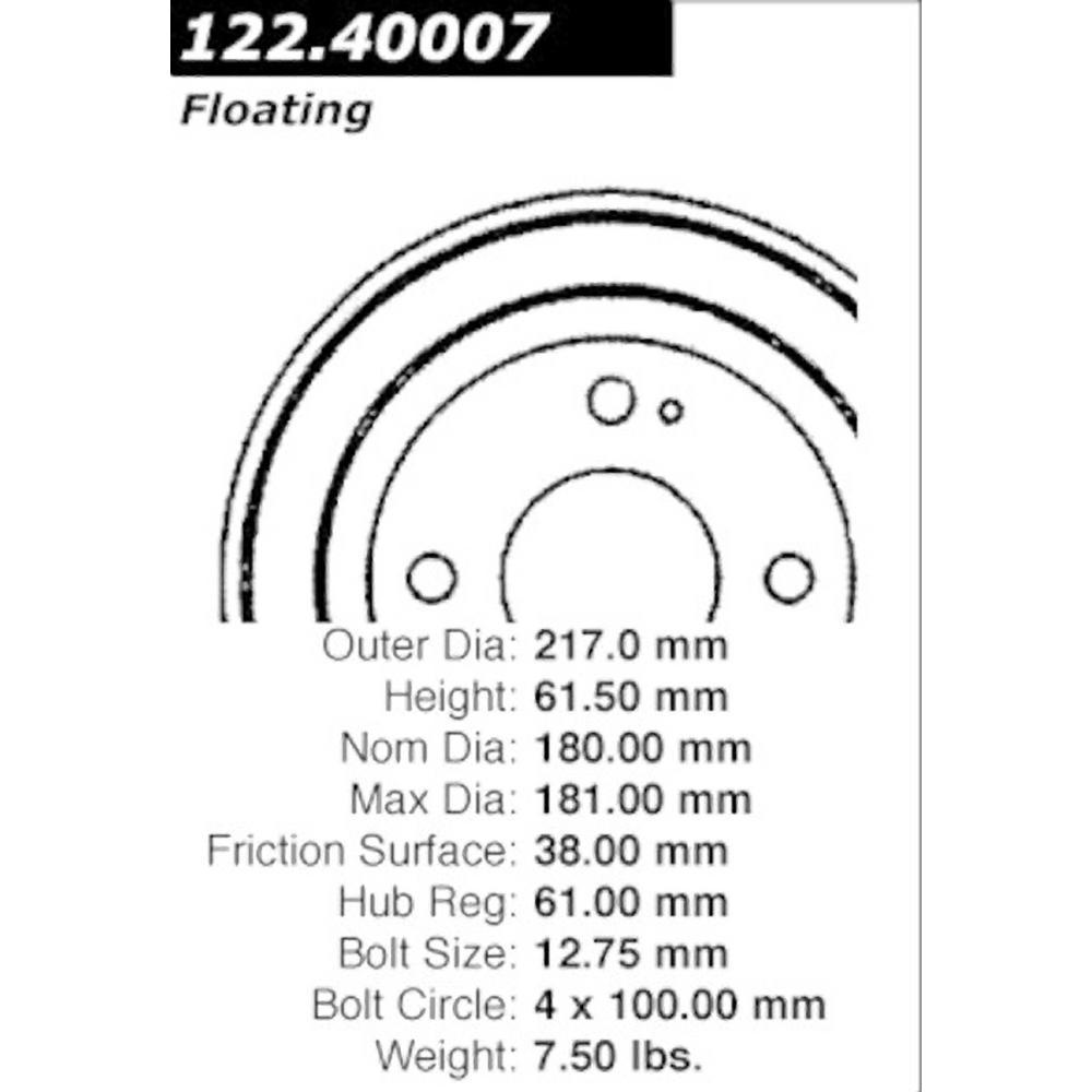 Centric Parts Brake Drum 1992 1995 Honda Civic 1 5l 123