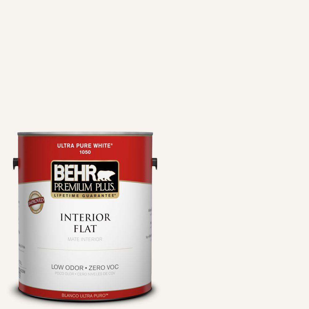 BEHR Premium Plus 1 gal. #75 Polar Bear Flat Zero VOC Interior Paint and Primer in One