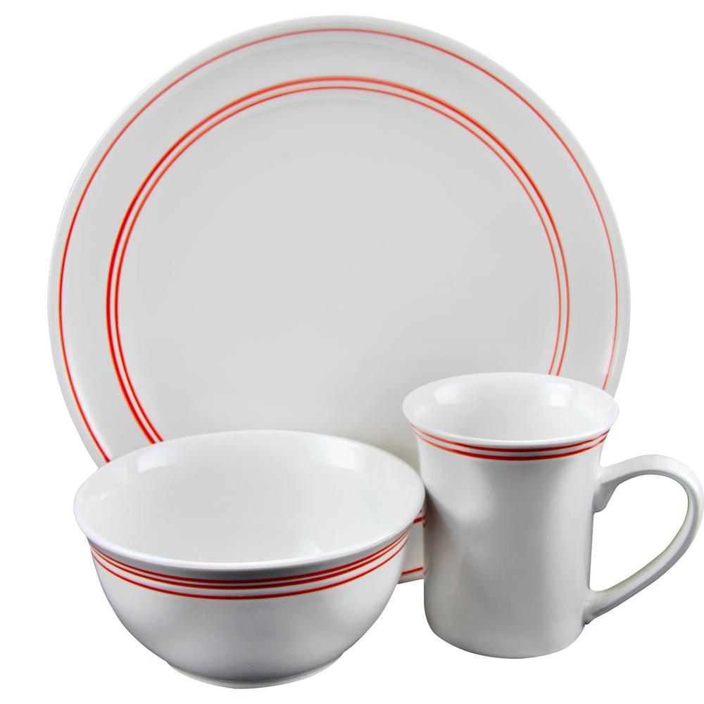 Gibson Home Porto 12 Piece Red Banded Dinnerware Set