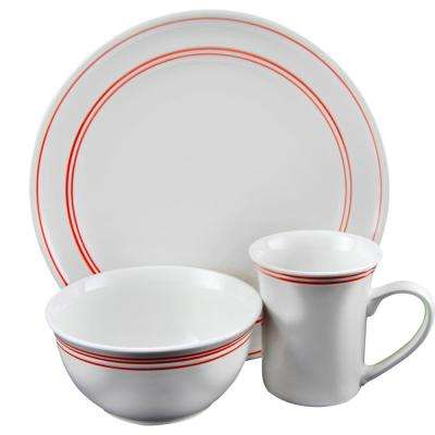 Porto 12-Piece Red Banded Dinnerware Set