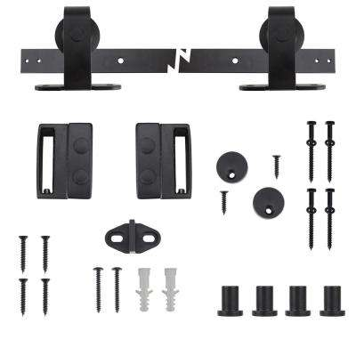 Black Top Mount Decorative Sliding Door Hardware