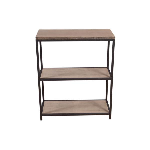 36.13 in. Brush Distressed Gray Metal 3-shelf Etagere Bookcase with Open Back