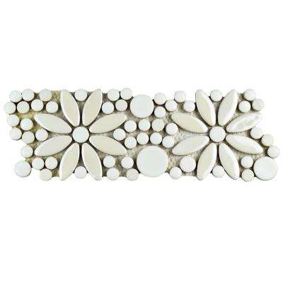 Galaxy Flower White 4-1/4 in. x 12-3/4 in. x 9 mm Porcelain Border Mosaic Tile