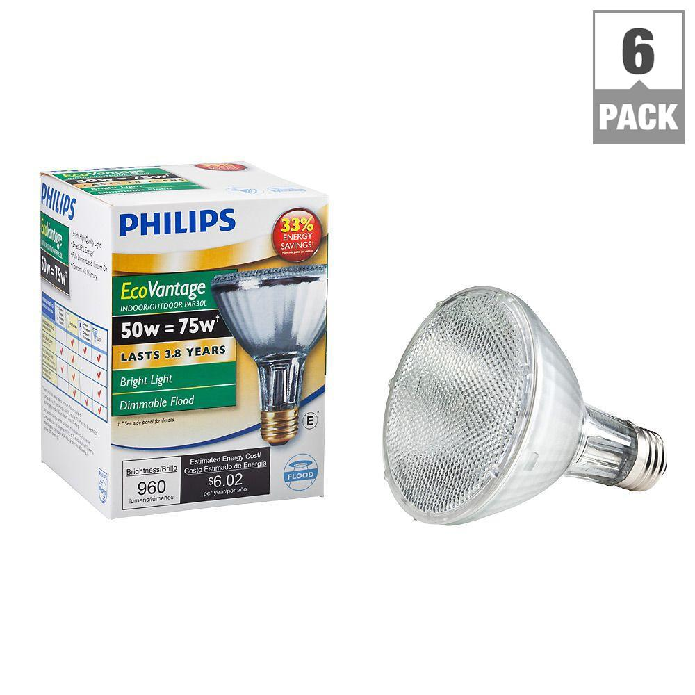 75-Watt Equivalent PAR30L Halogen Indoor/Outdoor Dimmable Flood Light Bulb (6-Pack)