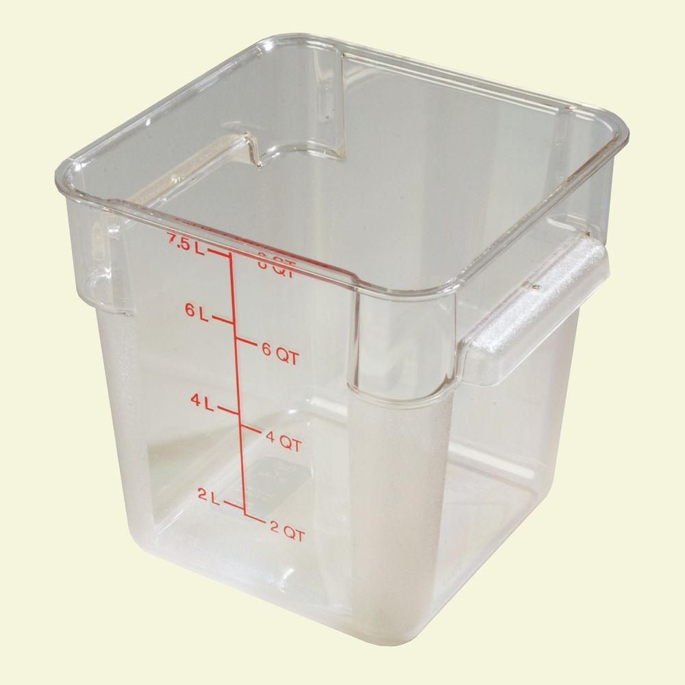 Carlisle 8 qt. Polycarbonate Square Food Storage Container in Clear, Lid not Included (Case of 6)-DISCONTINUED