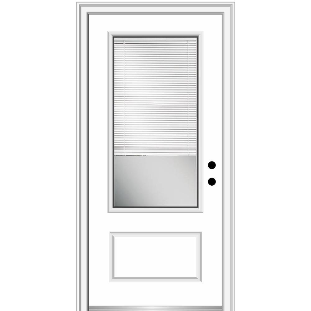 MMI Door 36 in. x 80 in. Internal Blinds Left-Hand Inswing 3/4 Lite 1-Panel Clear Primed Fiberglass Smooth Prehung Front Door